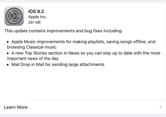 是Apple正式發放iOS 9.2升級,修復多種問題!第四項新增功能大亮!這篇文章的首圖