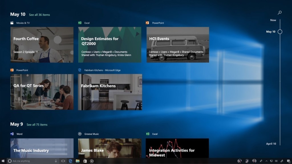 是確認檔案如何被使用、散落何處的時間軸介面將不會如期出現在Windows 10 Creators秋季更新這篇文章的首圖