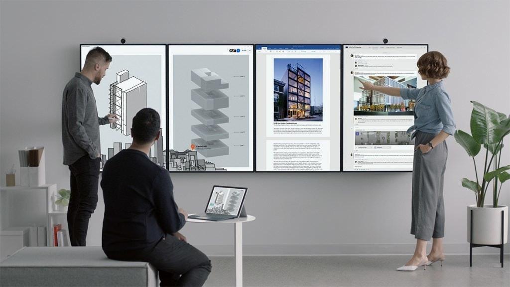 是微軟揭曉第二代電子會議系統Surface Hub 2 可藉窄邊框設計拼接成電視牆這篇文章的首圖