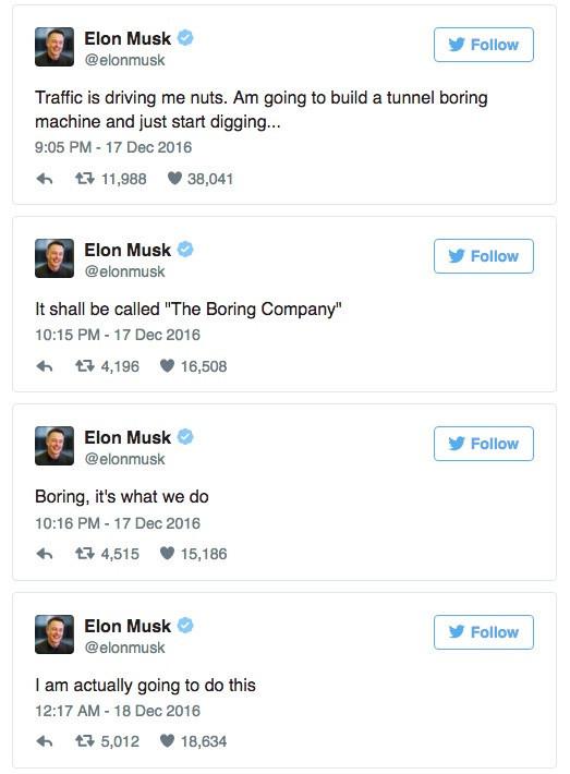 是科技圈」鋼鐵俠「Elon Musk準備開一家」無聊「的公司!準備挖地洞建隧道,解決堵車這煩人問題!這篇文章的首圖