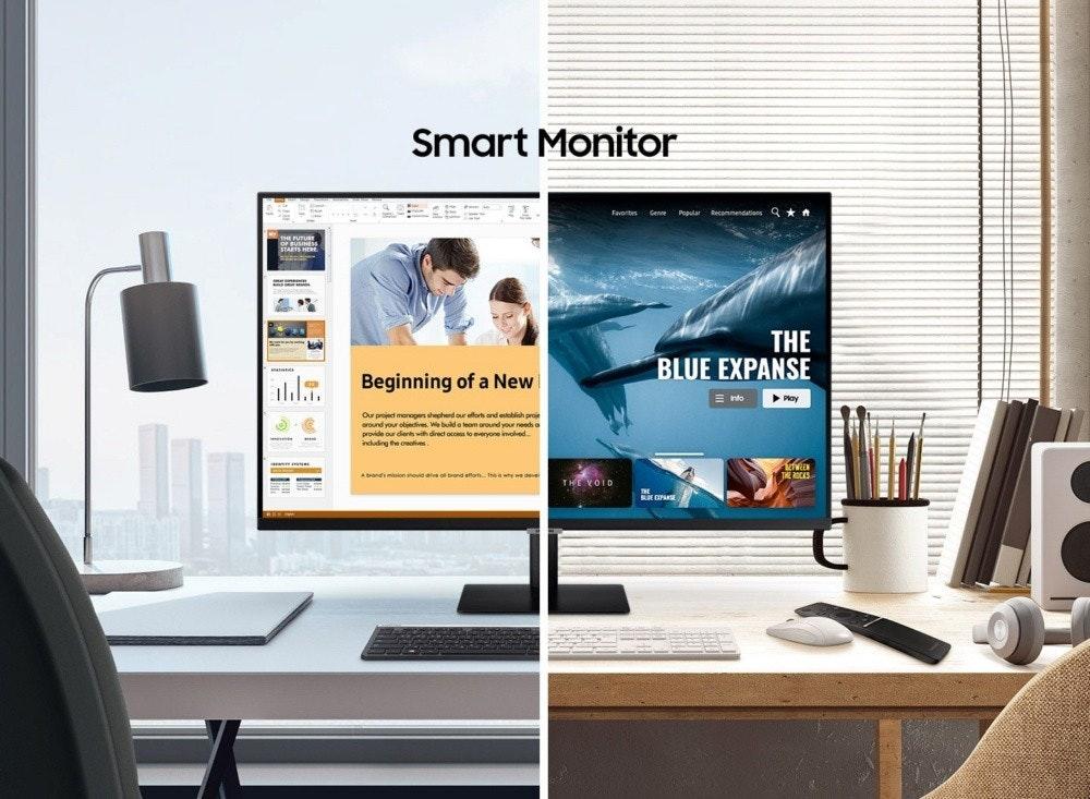 照片中提到了Smart Monitor、Favorites、THE,包含了廣告活動監控、電腦顯示器、三星、三星電子、刷新率