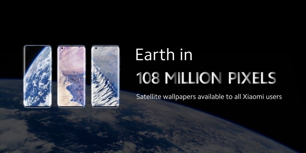 照片中提到了Earth in、108 MILLION PIXELS、Satellite wallpapers available to all Xiaomi users,包含了大氣層、小米米10、紅米K30、高通金魚草、物聯網
