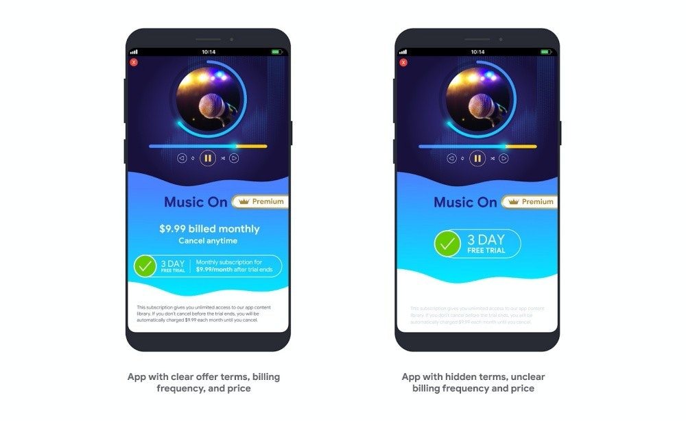 照片中提到了10:14、10:14、Music On,包含了Google Play、手機、功能手機、Google Play、移動電話