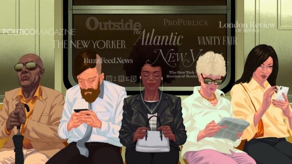 照片中提到了Outside、PROPUBLICA、POLITICOMAGAZINE,跟室外電視有關,包含了大西洋、麥凱·科平斯、大西洋組織、收聽音頻公司、長篇新聞