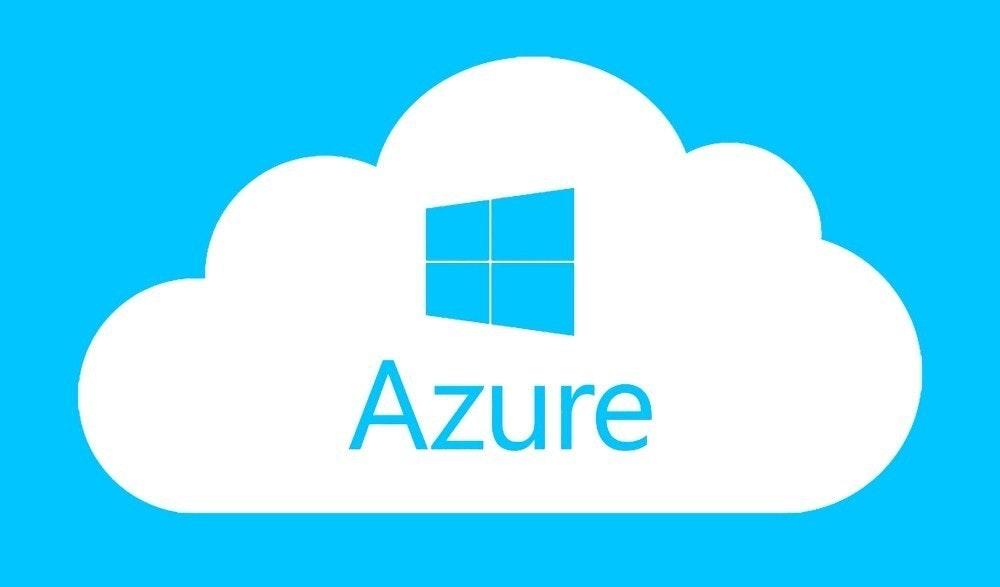 照片中提到了Azure,跟Azure資本合作夥伴有關,包含了蔚藍的窗戶、商標、牌、字形、產品設計