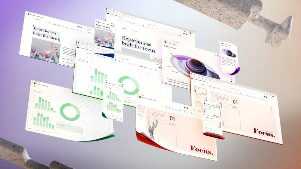照片中提到了ENperi、riences、buils for feews,跟地球之友、聚焦電視有關,包含了微軟公司、微軟公司、Office 365、微軟辦公軟件、微軟團隊