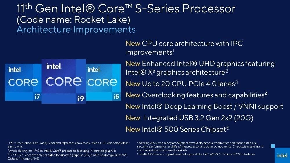 照片中提到了11th Gen Intel® CoreTM S-Series Processor、(Code name: Rocket Lake)、Architecture Improvements,包含了英特爾火箭湖、英特爾Xe、英特爾酷睿i9、火箭湖、英特爾