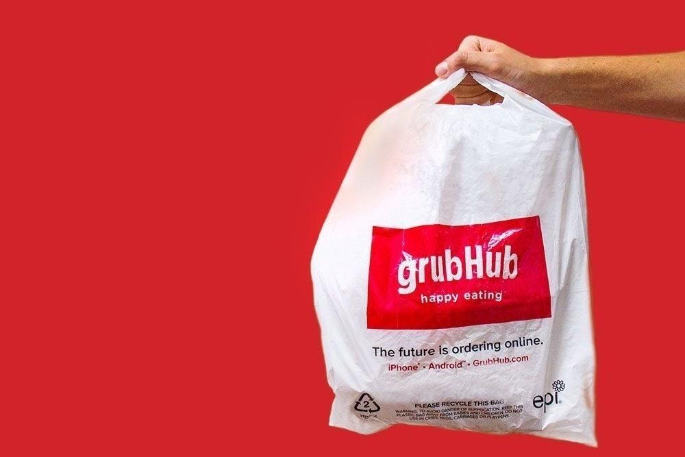 照片中提到了grubHub、happy eating、The future is ordering online.,跟格魯布有關,包含了grubhub員工、在線食品訂購、交貨、送外賣