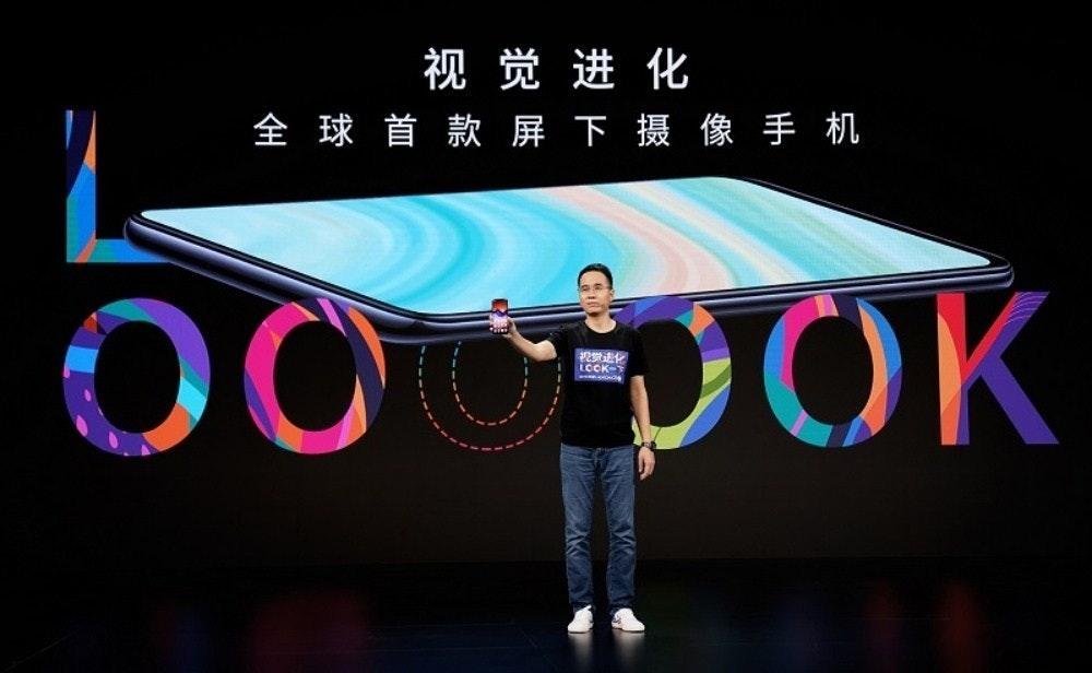 照片中提到了视觉进化、全球首款屏下摄像手机、00,包含了移動電話、ROG電話3、華碩ZenFone、中興通訊、5G