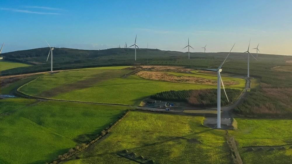 照片中包含了風電場、德克薩斯州亞馬遜風電場、風電場、風車、風力發電機