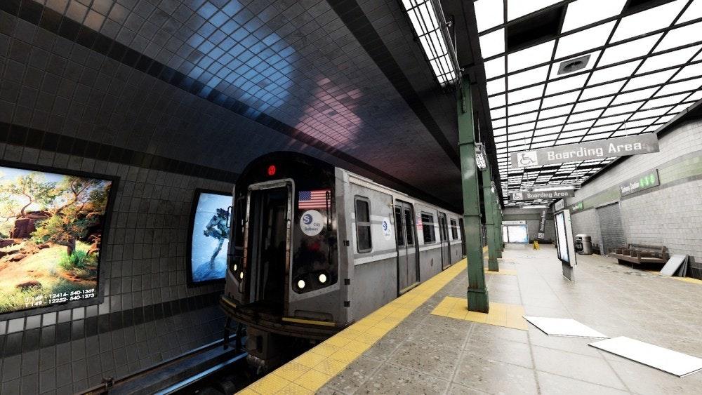 照片中提到了& Boarding Area、12416-540va,包含了火車站、英偉達、光線追踪、渲染圖、英偉達RTX