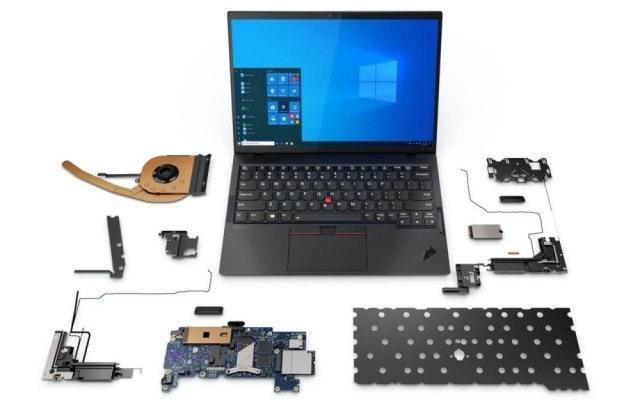 照片中跟微軟公司有關,包含了聯想ThinkPad、聯想ThinkPad X1 Yoga、聯想、電腦、計算機鍵盤