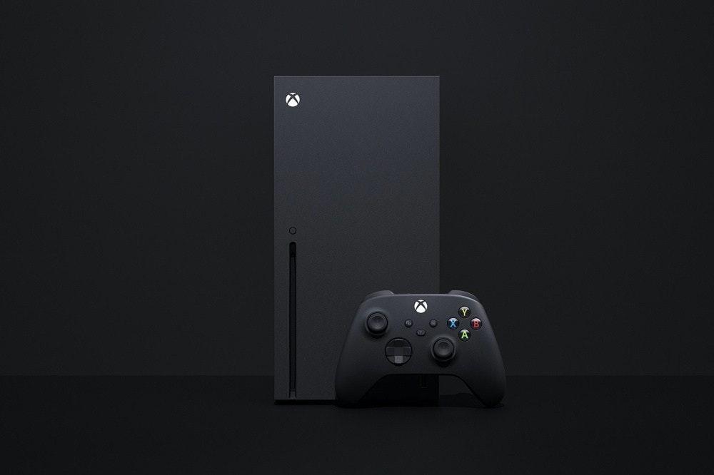 照片中包含了Xbox系列X、Xbox One、Xbox系列X、的PlayStation 5、微軟公司