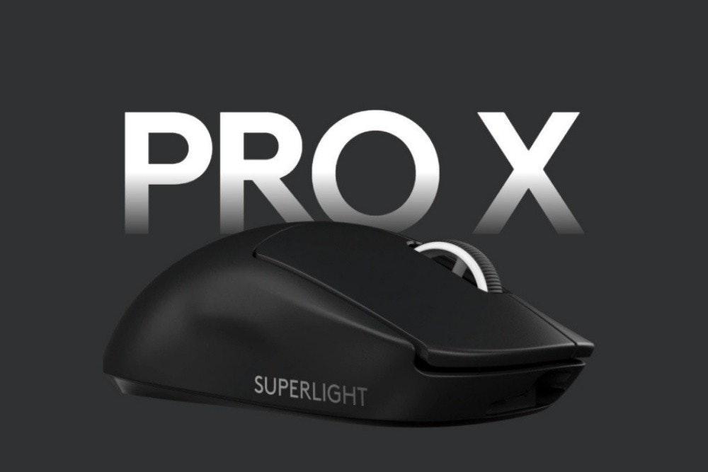 照片中提到了PRO X、SUPERLIGHT,跟Pro X有關,包含了老鼠、輸入設備、電腦鼠標、電腦、周邊設備