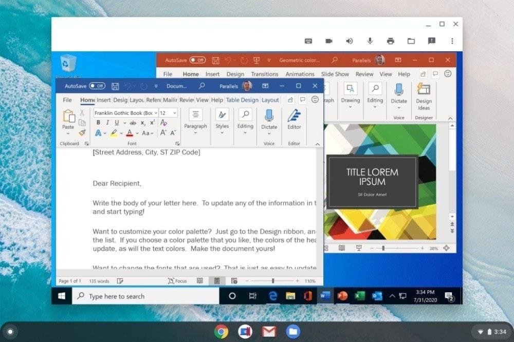 照片中提到了AutoSave、E 2- U T Geometric color.、Parallels (,包含了Chromebook、Chromebook、計算機程序、Chrome OS、虛擬機