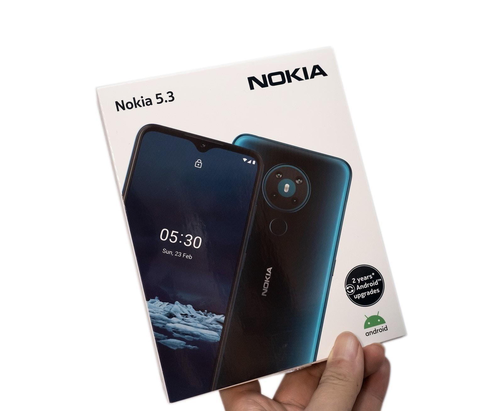 照片中提到了Nokia 5.3、NOKIA、05:30,跟諾基亞有關,包含了諾基亞、手機、產品設計、產品
