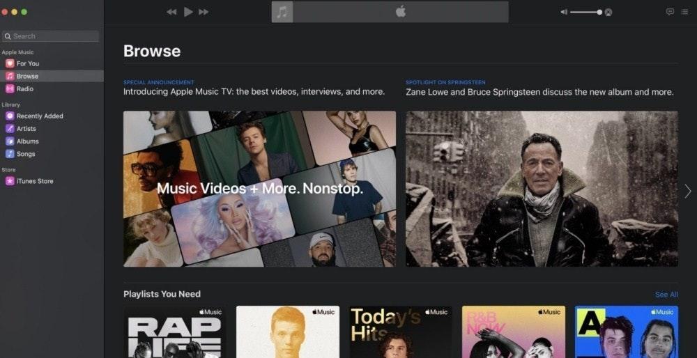 照片中提到了...、Q Search、Browse,包含了軟件、軟件、音樂視頻、音樂電視、蘋果音樂