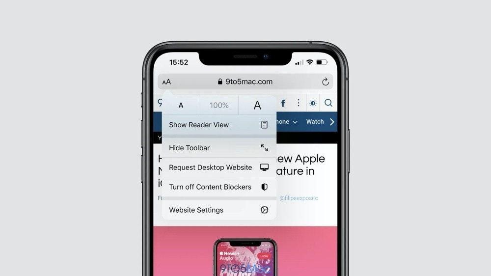 照片中提到了15:52、AA、A 9to5mac.com,包含了蘋果瀏覽器、功能手機、手機、蘋果瀏覽器、蘋果