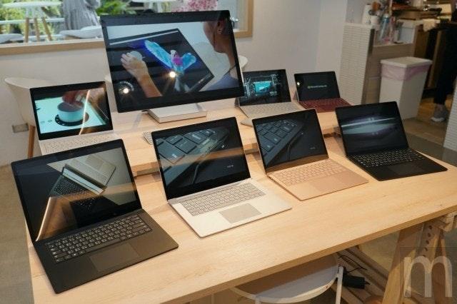 照片中包含了台、Surface筆記本電腦3、Surface Pro X、微軟公司、Windows 10