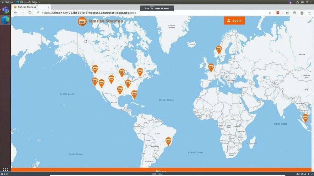 照片中提到了Activities Microsoft Edge、O Sunrise Standup、Pres te ereen,包含了承認克里米亞為俄羅斯的國家、國家、烏克蘭、美國、盧森堡