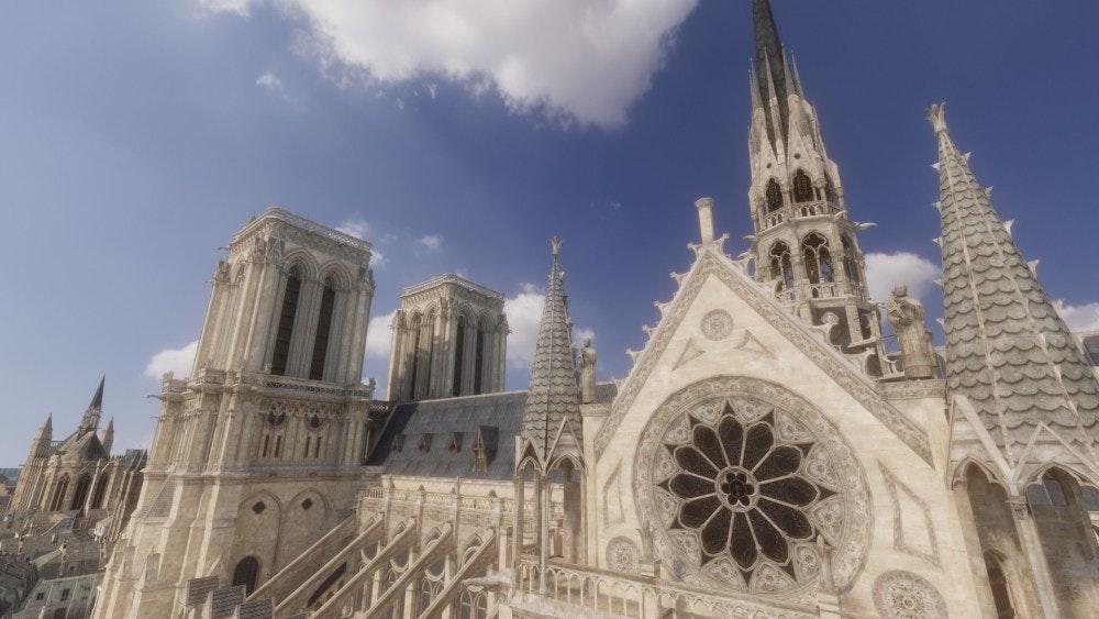 照片中包含了巴黎圣母院大教堂、巴黎圣母院大教堂、大教堂、育碧、尖塔