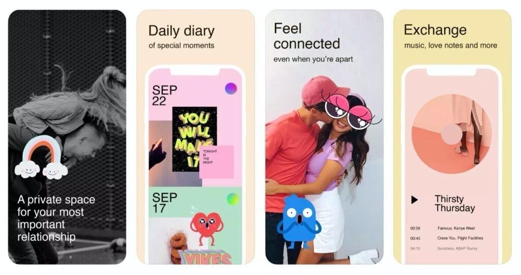 照片中提到了Daily diary、Feel、connected,包含了臉書、手機、移動應用、通訊應用、的iOS