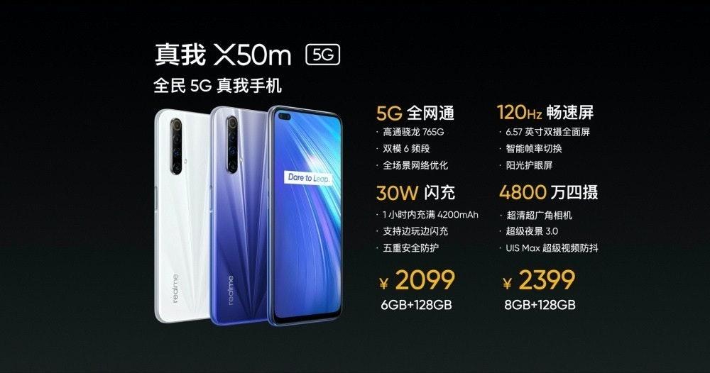 照片中提到了真我X50㎡ G困、全民5G真我手机、5G全网通,包含了電子產品、手機、移動電話、Realme X50 Pro 5G、Realme