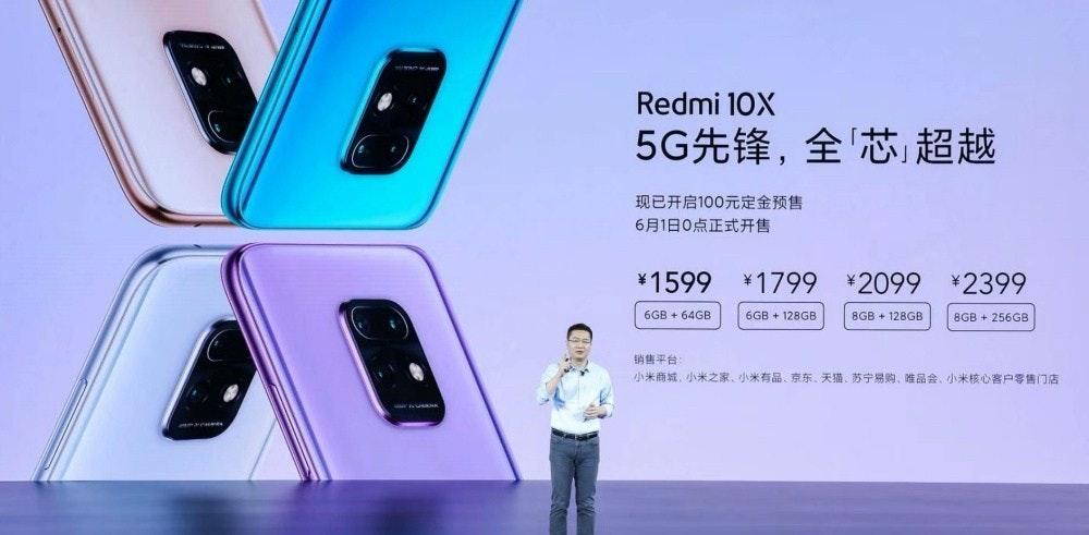照片中提到了Redmi 10X、5G先锋,全芯超越、现已开启100元定金预售,包含了小工具、紅米、光學防抖、榮譽、5G