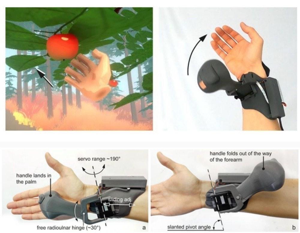 照片中提到了handle folds out of the way、of the forearm、servo range -190°,包含了手、產品設計、產品、H&M、設計