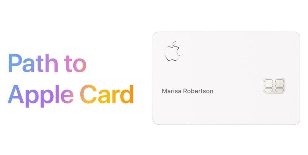 照片中提到了Path to、Apple Card、Marisa Robertson,跟蘋果公司。有關,包含了蘋果護理、字形、牌、商標、產品設計