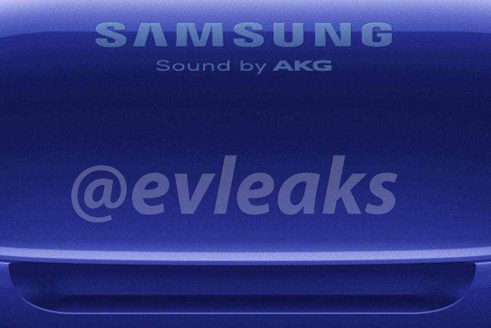 照片中提到了SAMSU NG、Sound by AKG、@evleaks,跟三星集團有關,包含了電藍、產品設計、牆紙、牌、圖形