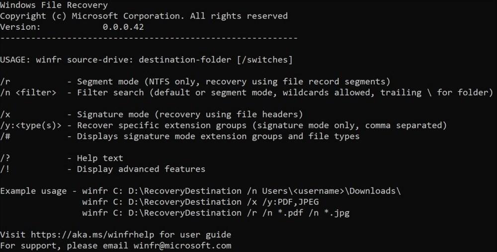 照片中提到了Windows File Recovery、Copyright (c) Microsoft Corporation. All rights reserved、Version:,包含了屏幕截圖、微軟公司、微軟Windows、Windows 10、數據