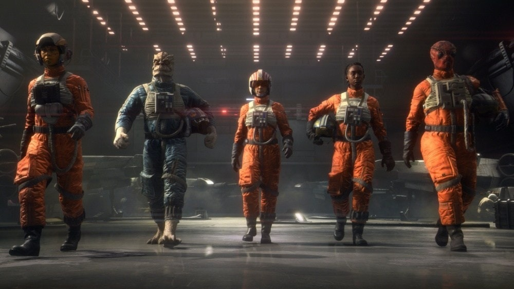 照片中包含了表演藝術、星球大戰:中隊、Sheev Palpatine、星球大戰絕地武士:墮落秩序、電子藝術