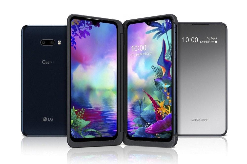照片中提到了10:00、Fri, Sep 6、DUO 1 100,包含了lg g8x、LG G8 ThinQ、LG G8X ThinQ、LG、手機