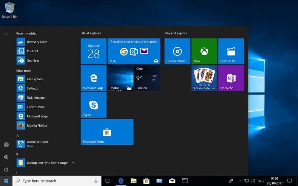 照片中提到了Recycle Bin、Recently added、Life at a glance,包含了Windows 10 Internet Explorer、Windows 10、微軟公司、微軟邊緣、IE瀏覽器