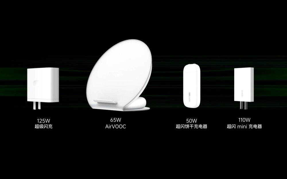 照片中提到了65W、110W、125W,包含了移動電話、VOOC、Oppo、移動電話、快速充電