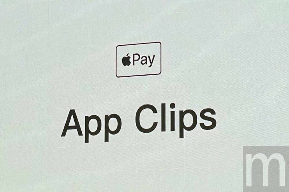 照片中提到了Pay、App Clips、m,跟蘋果公司。有關,包含了蘋果支付、產品設計、短片、圖形、商標