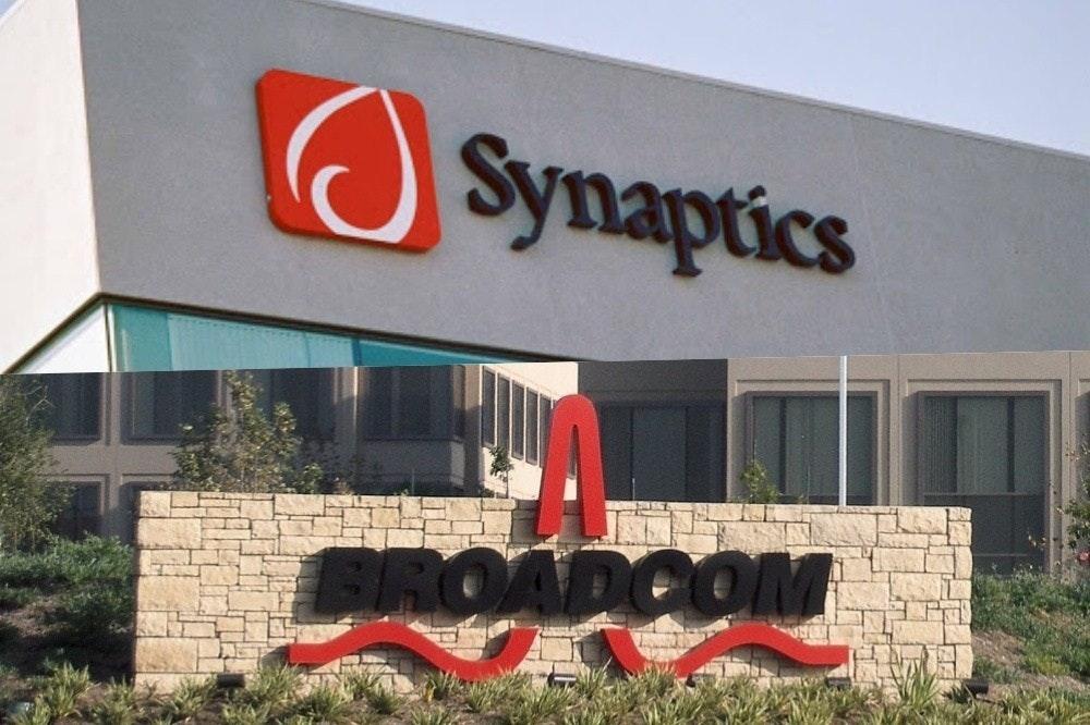 照片中提到了O、Synaptics、BROADCOM,跟突觸有關,包含了蘋果博通、博通公司、博通公司、蘋果、高通公司