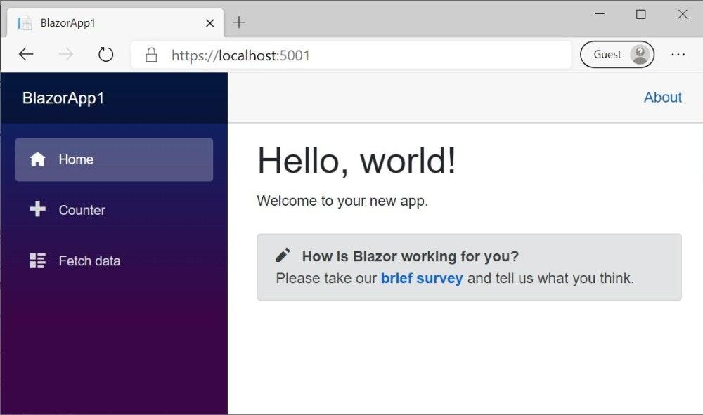 照片中提到了A BlazorApp1、+、A https://localhost:5001,包含了開拓者、開拓者、微軟公司、C#、網頁