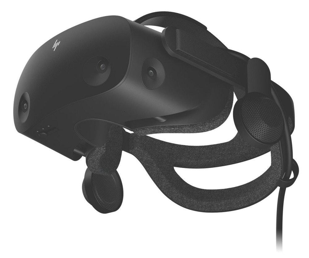 照片中包含了自行車頭盔、虛擬現實耳機、Windows混合現實、HP Reverb虛擬現實耳機專業版專用頭戴式顯示器灰色500克6KP43EA#ABB、頭戴式顯示器