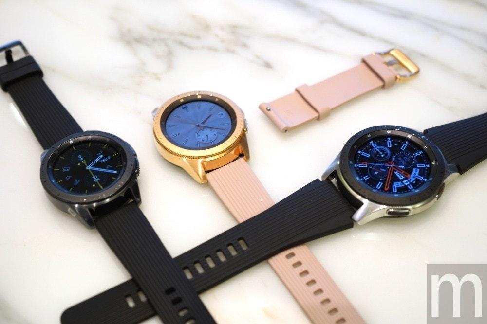 照片中提到了...、111、Im,包含了銀河手錶、三星Galaxy Note 9、智能手錶、三星、三星Galaxy Watch Active