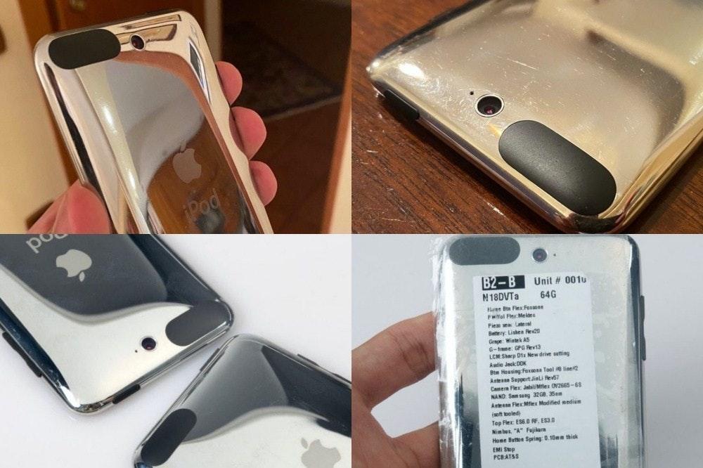 照片中提到了Pod、po、B2-B Unit # 001u,跟蘋果公司。、樂高集團有關,包含了帶攝像頭的ipod touch 4g、手機、移動電話、產品設計、iPod觸控