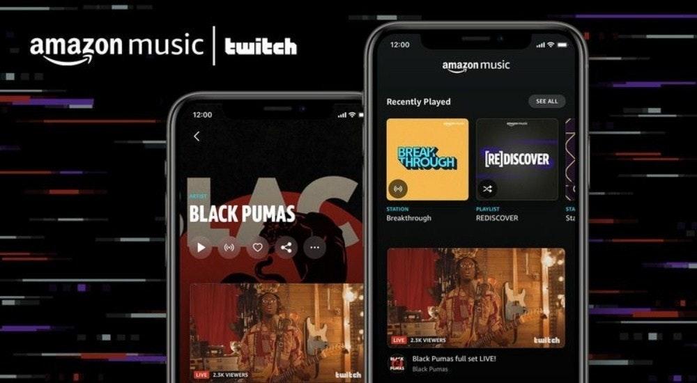 照片中提到了amazon music twitch、12:00、amazon music,跟亞馬孫、亞馬孫有關,包含了亞馬遜音樂、亞馬遜網、亞馬遜音樂、流媒體、抽搐
