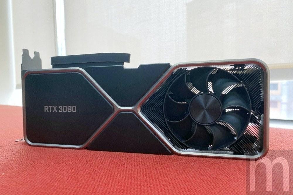 照片中提到了RTX 3080,包含了電子產品、顯卡、GeForce 20系列、英偉達、GeForce 30系列