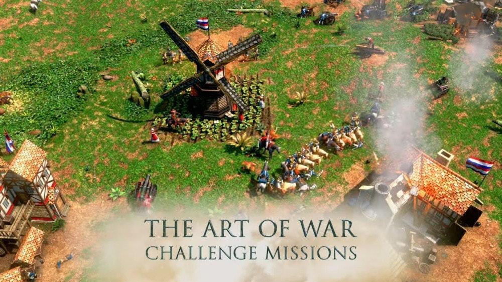 照片中提到了THE ART OF WAR、CHALLENGE MISSIONS,包含了遊戲、帝國時代III、Gamescom、Xbox遊戲工作室、實時策略