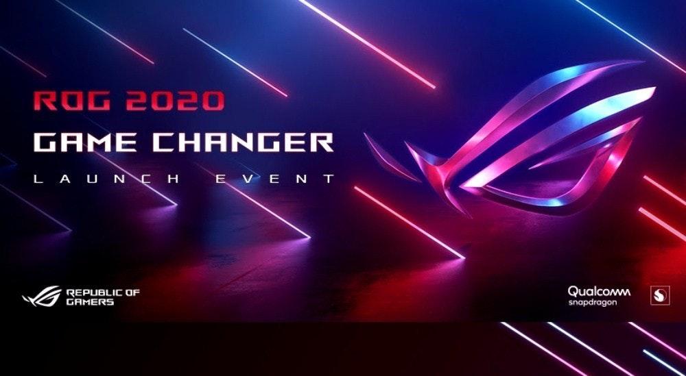 照片中提到了ROG 2020、GAME CHANGER、L A U NCH E VEN T,跟高通公司、ROG電話有關,包含了藍色、霓虹燈、激光、光、圖形