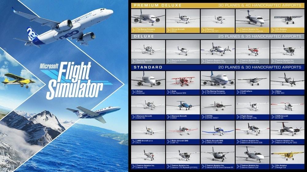 照片中提到了PREMIUM DELUXE、30 PLANES & 40 HANDCRAFTED AIRPORTS、********,包含了微軟飛行模擬器2020飛機和手工製作的機場、微軟飛行模擬器、飛機、飛機、客機