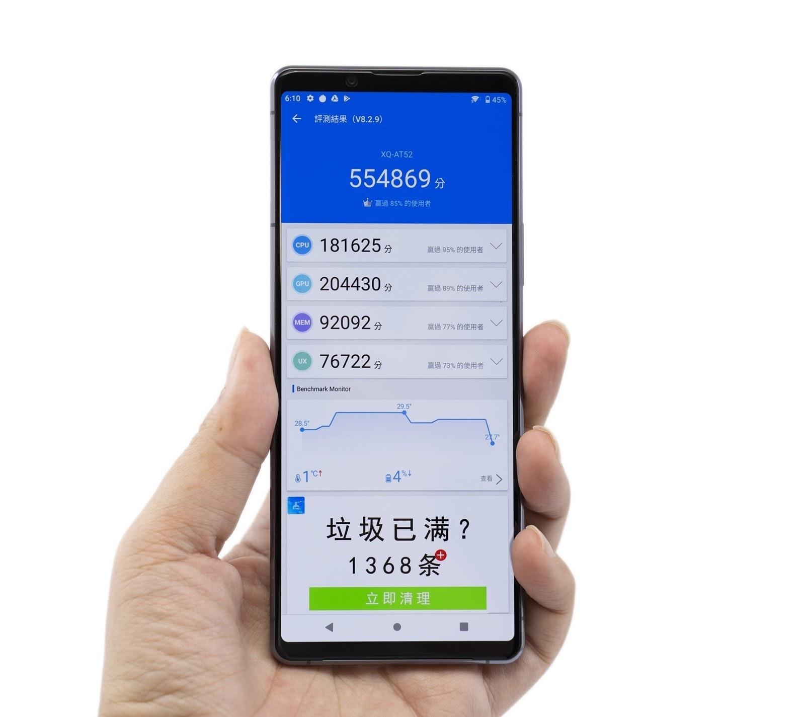 照片中提到了6:10 ¢ 0 A、令045%、評測結果(V8.2.9),包含了功能手機、功能手機、手機、移動設備、蜂窩網絡