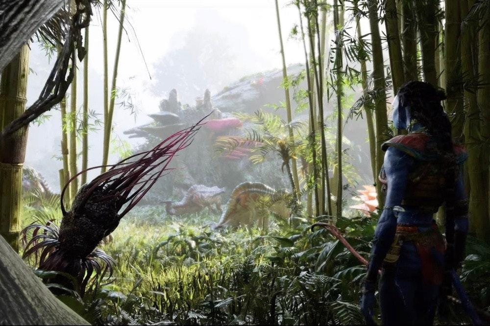 照片中包含了潘多拉的阿凡達邊疆、阿凡達:潘多拉的邊疆、E3 2021、育碧、大型娛樂