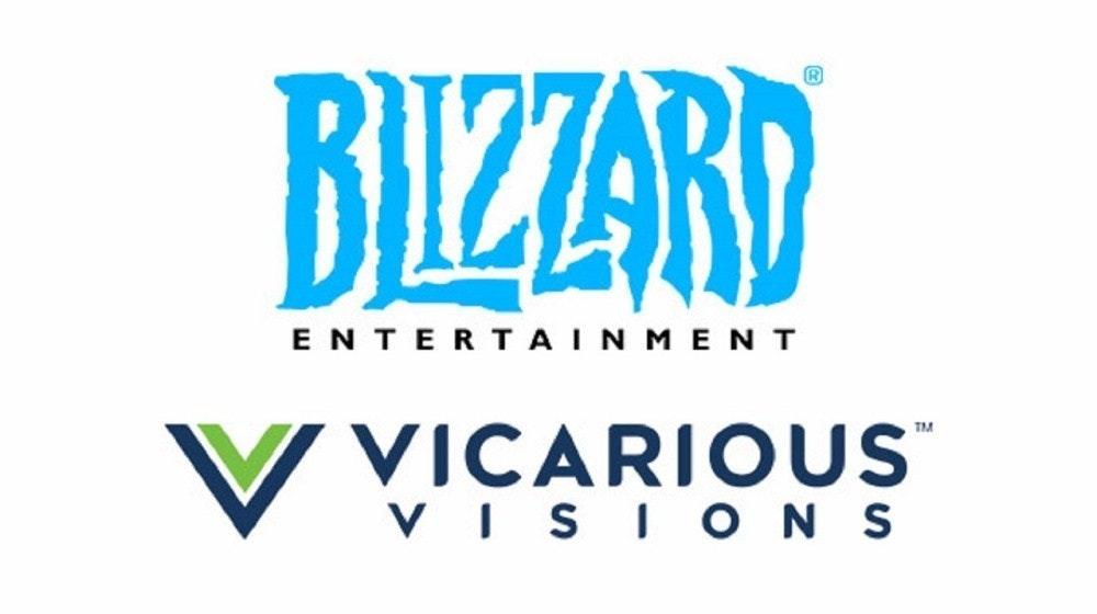 """照片中提到了BIZZARD、ENTERTAINMENT、VVICARIOUS"""",跟暴雪娛樂、替代願景有關,包含了平面設計、商標、平面設計、水族M、牌"""